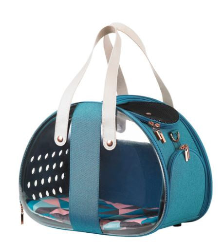 Ibiyaya - The Bubble Hotel Semi-transparentPet Carrier - Turquoise