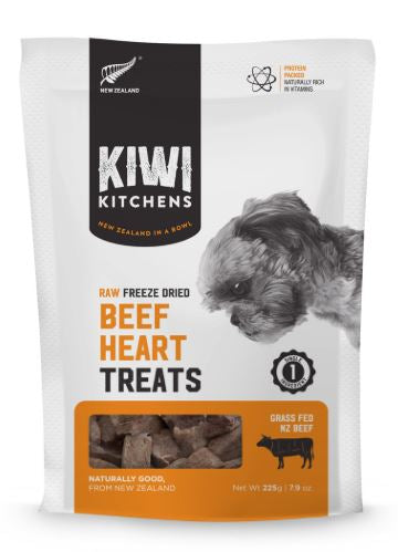 Kiwi Kitchens - Freeze-Dried Dog Treats - Beef Heart - 225G