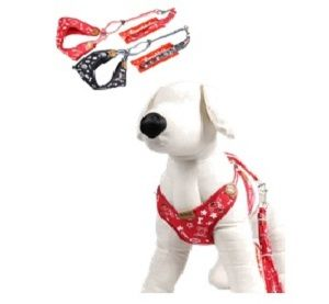 Lovabledog - Denim Leash &  Harness with Padding - Red - PetProject.HK