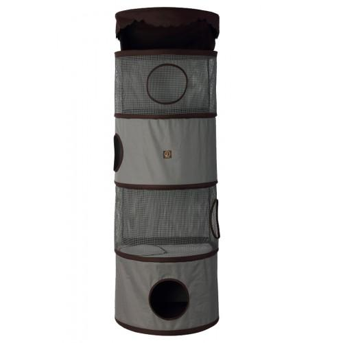 "One for Pets - All-in-One Portable Cat Activity Tower - 4 Storeys - Grey/Brown - 59"" Tall - PetProject.HK"