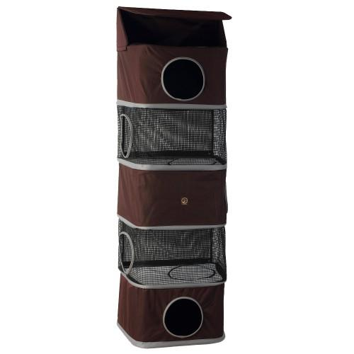 "One for Pets - All-in-One Portable Cat Activity Tower - 5 Storeys - Brown - 71"" Tall - PetProject.HK"
