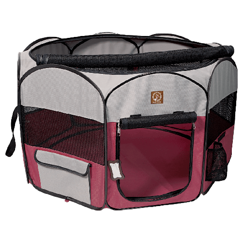"One for Pets - Fabric Portable Playpen - Fuchsia/Grey - 46"" x 46"" x 20.5"""