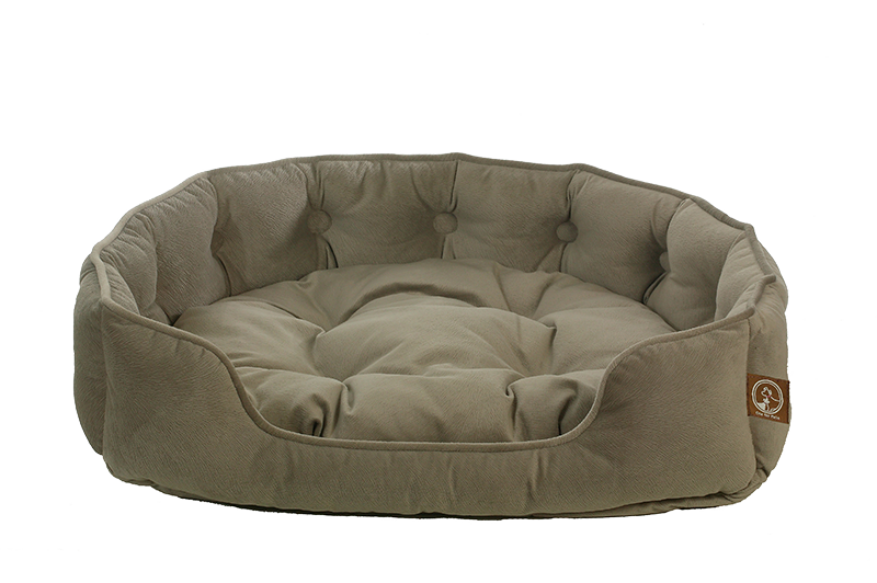 "One for Pets - Faux Suede Snuggle Bed - Taupe - 25"" x 21"" x 6""(L) - PetProject.HK"