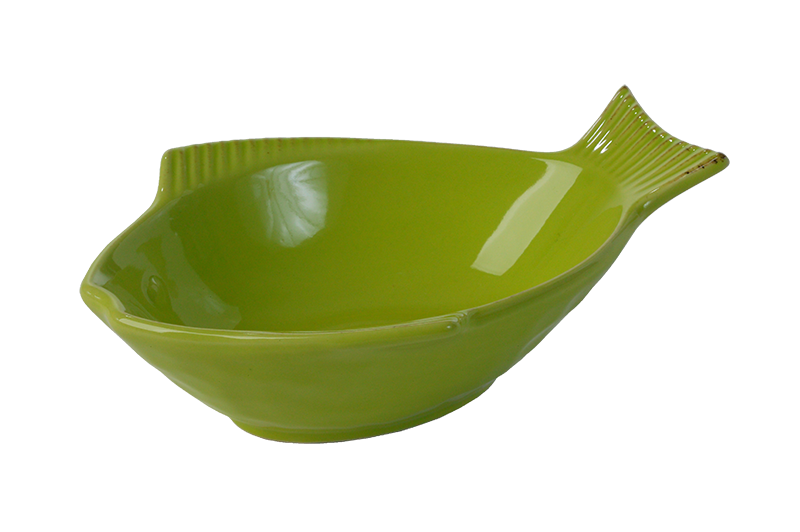 "One for Pets - Fish Shaped Bowl - Green - 7"" - PetProject.HK"
