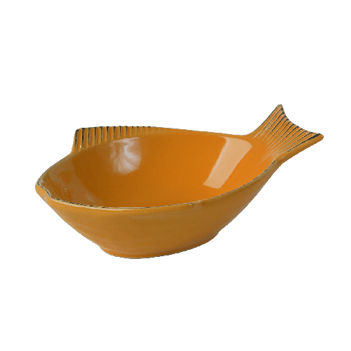 One for Pets - Fish Shaped Bowl - Yellow - 7""