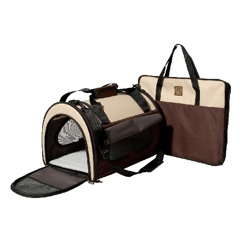 "One for Pets - Folding Carrier - Dome - Cream/Brown - 17.5"" x 11.5"" x 11.5""(L) - PetProject.HK"