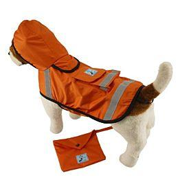 "One for Pets - Safety Hooded Raincoats - Orange Red (12"") - PetProject.HK"