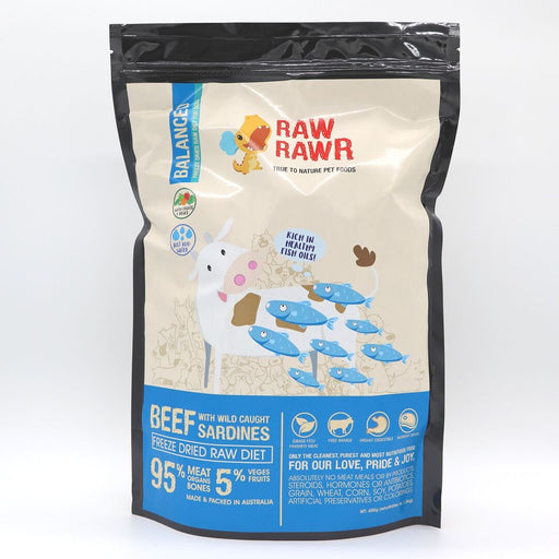Raw Rawr - Freeze Dried Dog Food - Beef & Sardine - 400G