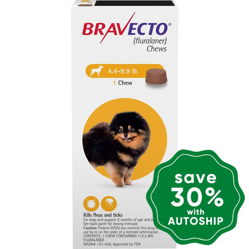 Bravecto (Fluralaner) - Flea And Tick Protection Chewable For Dogs 2-4.5Kg Yellow 1 Chew