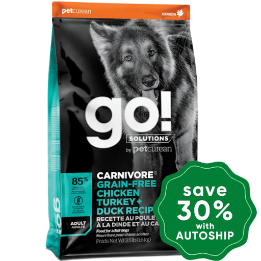 GO! SOLUTIONS - CARNIVORE Dry Food for Adult Dog - Grain Free Chicken, Turkey + Duck Recipe - 3.5LB