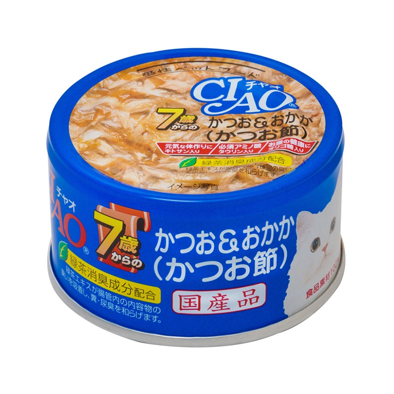 CIAO - Cat Canned Food - Skipjack Tuna and Bonito Flakes for Cats over 7 Years Old - 75G (24 Cans)