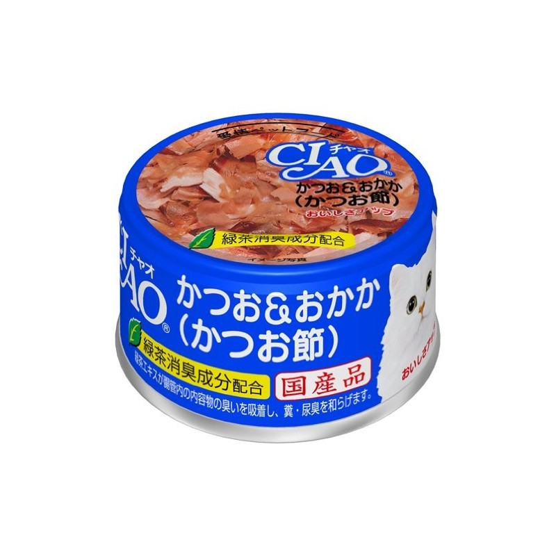 CIAO - Cat Canned Food - Skipjack Tuna and Bonito Flakes - 85G (24 Cans)