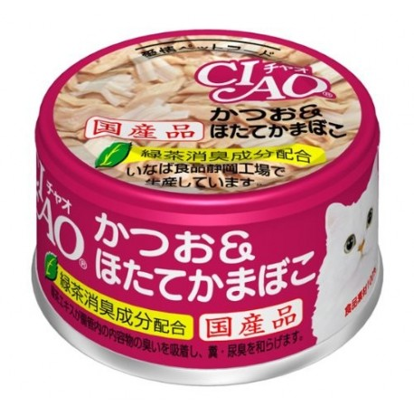 CIAO - Cat Canned Food - Skipjack Tuna and Scallop Stick - 85G (24 Cans) - PetProject.HK