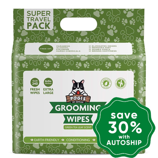 Pogi's Pet Supplies - Grooming Wipes - Green Tea - 240 Packs - 20 x 23 cm - PetProject.HK