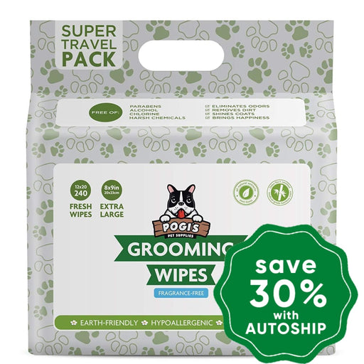 Pogi's Pet Supplies - Grooming Wipes - Unscented - 240 Packs - 20 x 23 cm - PetProject.HK
