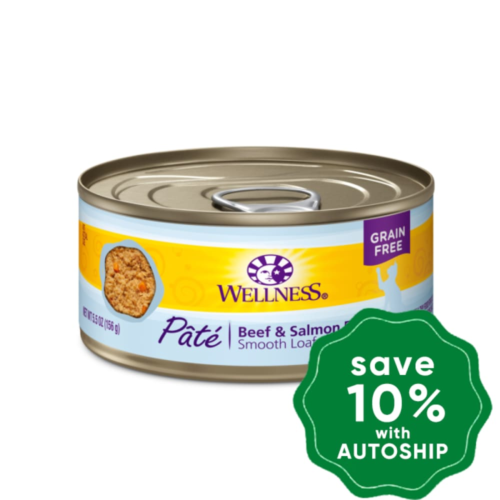 Wellness - Complete Health Pate - Grain Free Canned Cat Food - Beef & Salmon - 5.5OZ (4 Cans) - PetProject.HK