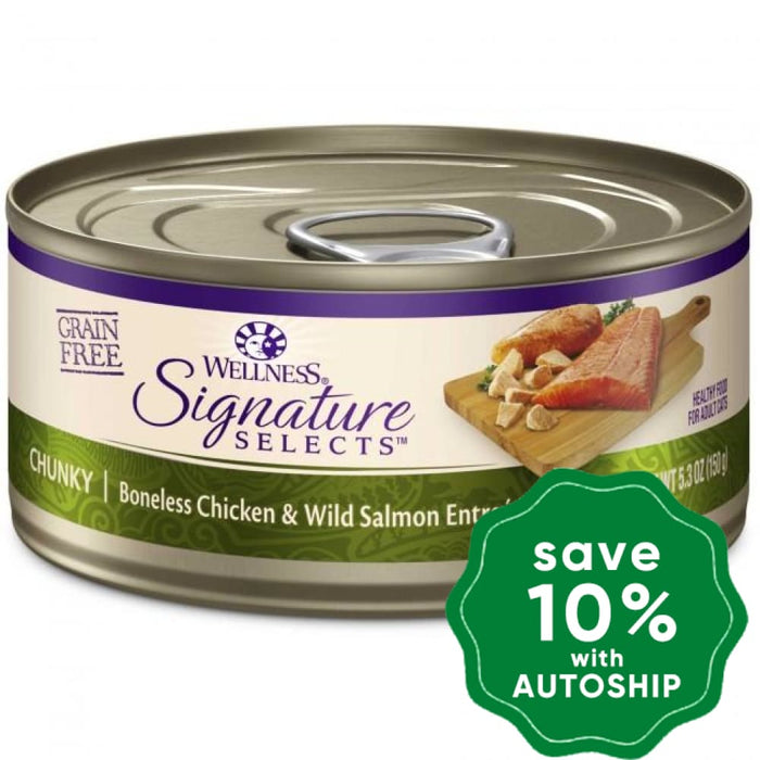 Wellness - Signature Selects - Grain Free Canned Cat Food - Chunky Boneless Chicken & Wild Salmon - 5.5OZ (4 Cans) - PetProject.HK