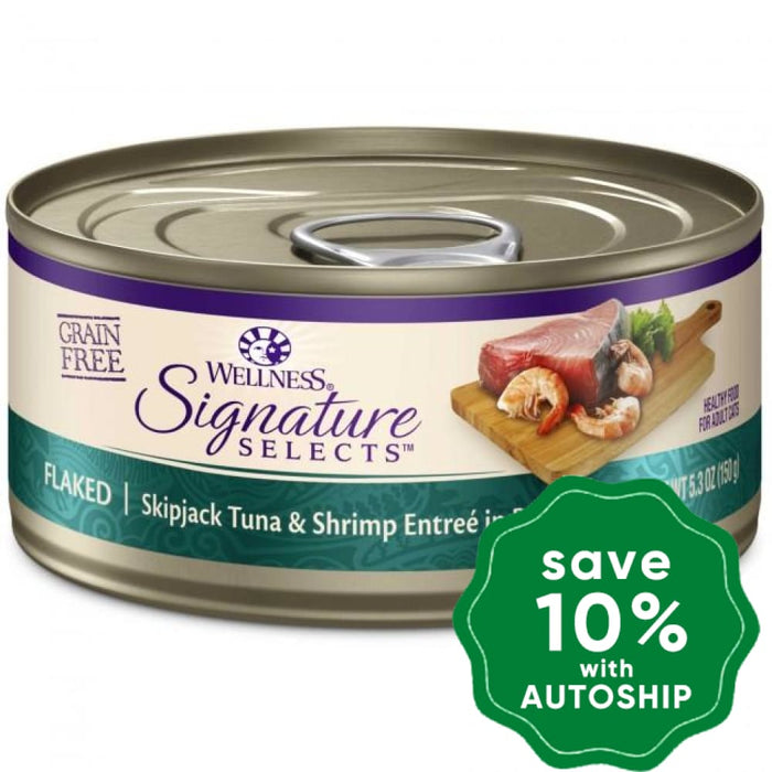 Wellness - Signature Selects - Grain Free Canned Cat Food - Flaked Skipjack Tuna & Shrimp - 5.5OZ (4 Cans) - PetProject.HK