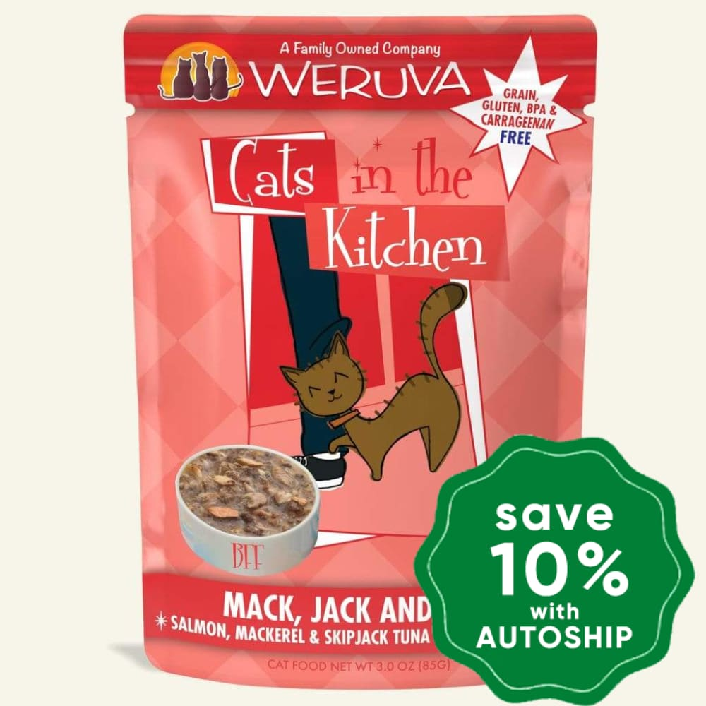 Weruva - Cats In The Kitchen - Mack, Jack and Sam - Salmon, Mackerel & Skipjack Tuna in Gravy - 85G (4 pouches) - PetProject.HK