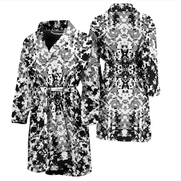 Digital Camouflage Black & White Mens Bath Robe
