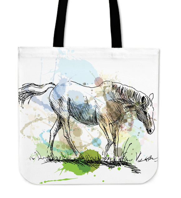 Painted White Horse Tote Bag