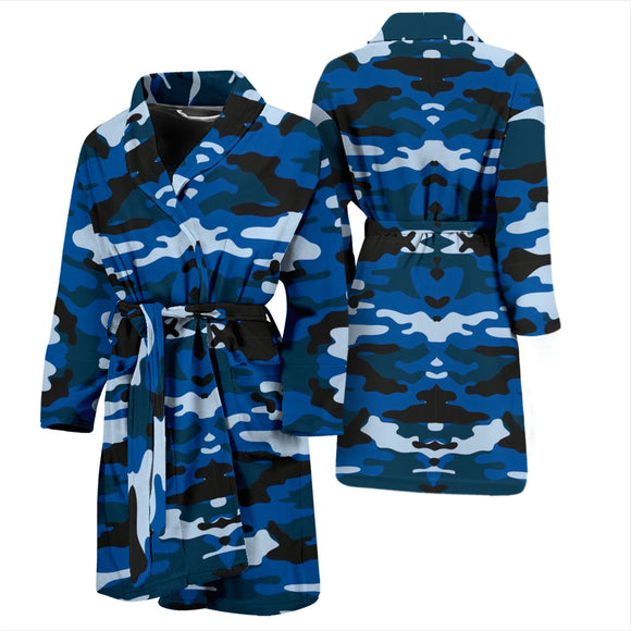Blue Camouflage Mens Bath Robe