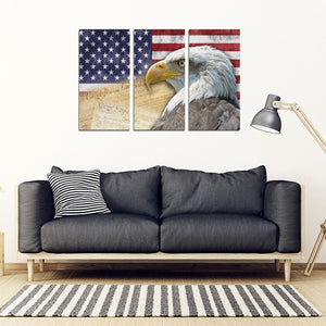 American Flag Bald Eagle Patriotic 3 Piece Framed Canvas