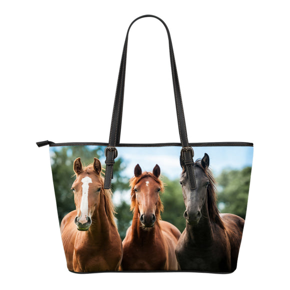 Horses Small Leather Tote