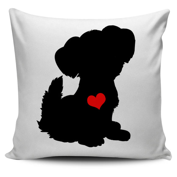 Black Dog Red Heart Pillow Cover