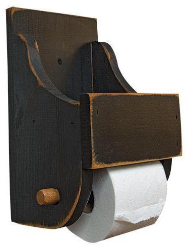 Black Wood Toilet Paper Holder
