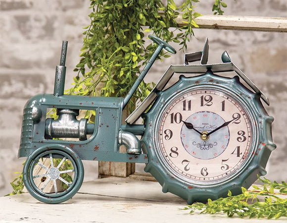 Farmhouse Blue Tractor Clock