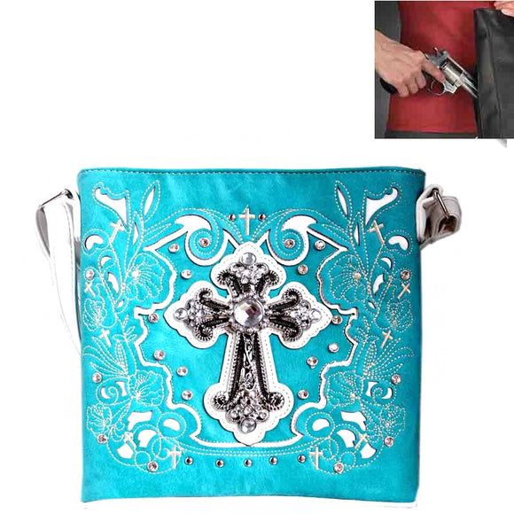 Spiritual Cross Embroidery Crossbody Bag Concealed Carry