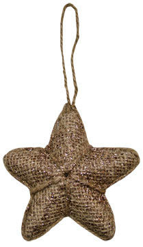 Glittered Burlap Star Ornament