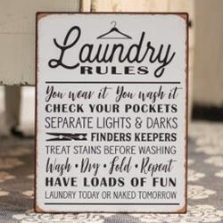 Laundry Rules Distressed Metal Sign