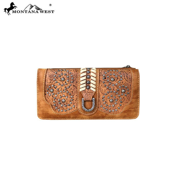Montana West Tooling Collection Secretary Style Wallet