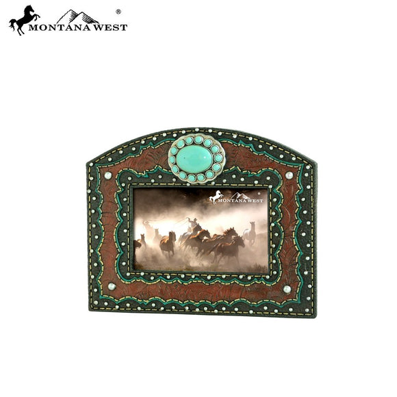 Montana West Turquoise Stone Concho Faux Leather Resin Texture Photo Frame
