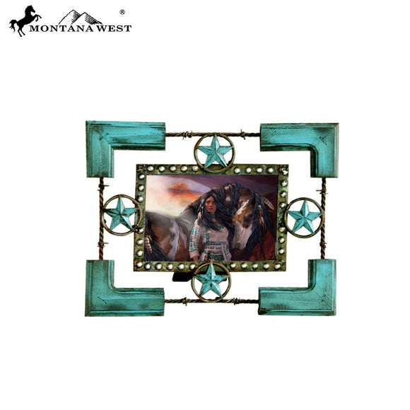 Montana West Turquoise Lonestars Wood Photo Frame