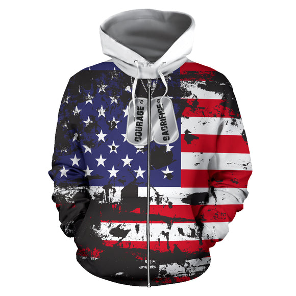 American Flag and Tags Zip-Up Hoodie