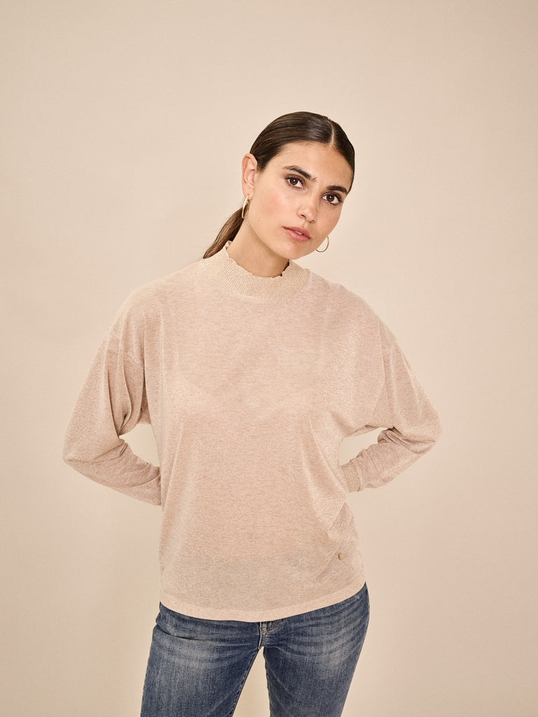 Mos Mosh Cher Long Sleeve Top With Gold Shimmer