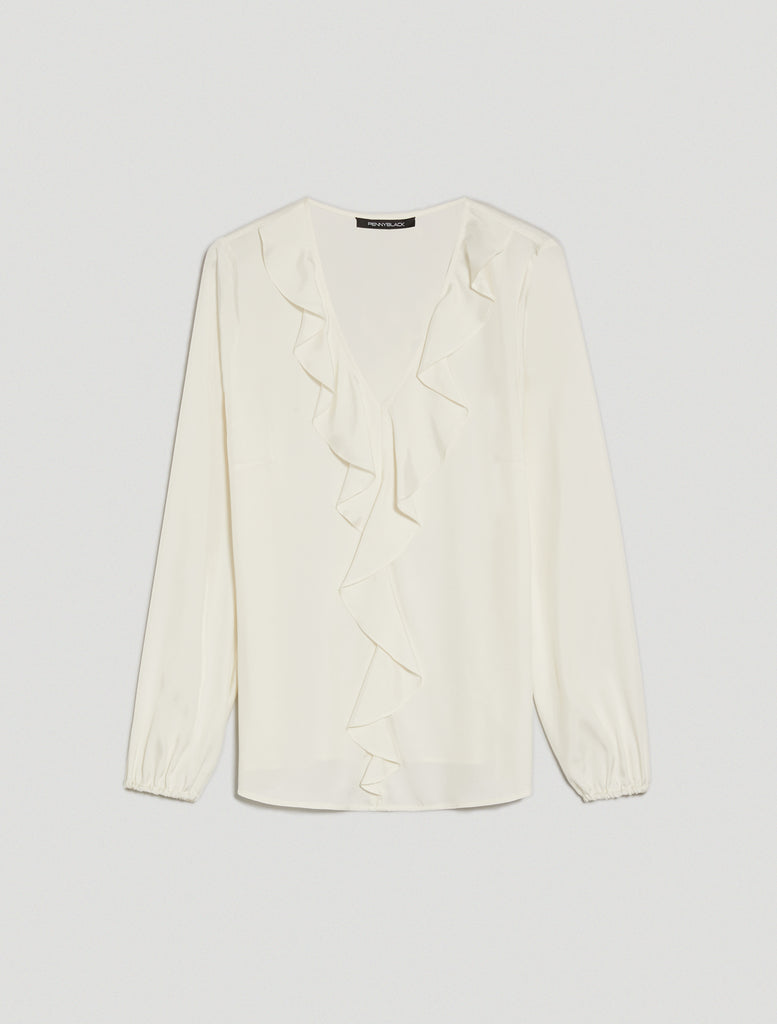 PennyBlack Vezzo Twill Blouse with Flounce
