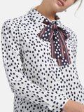Basler Printed blouse with neck tie