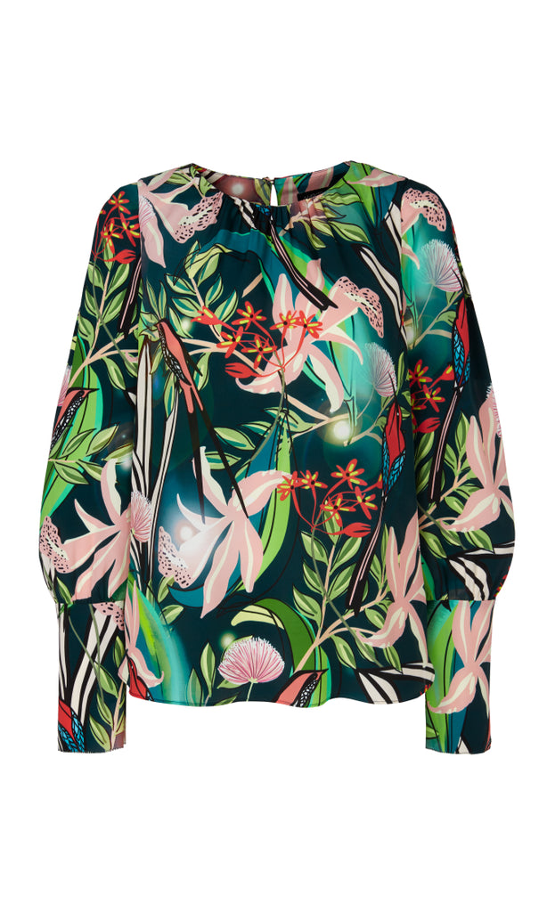 Marc Cain Printed blouse in viscose and silk