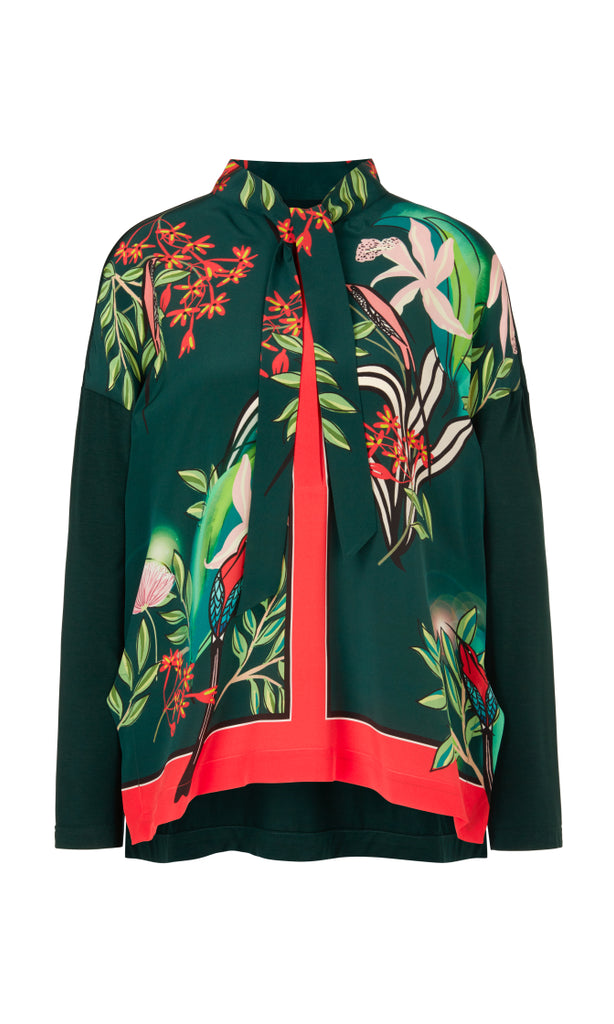 Marc Cain Printed blouse-style top with silk