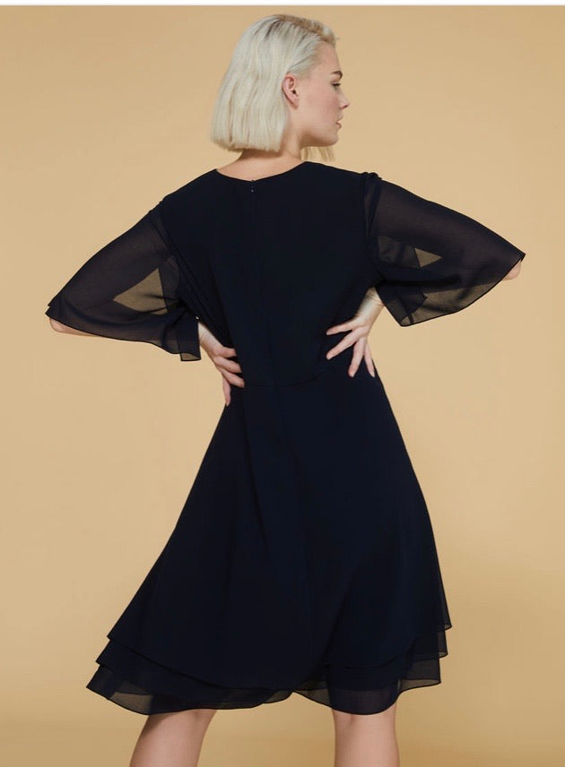 Persona Dopo Georgette dress, dark navy
