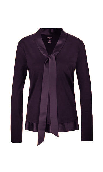 Marc Cain Bow-neck top with silk trim
