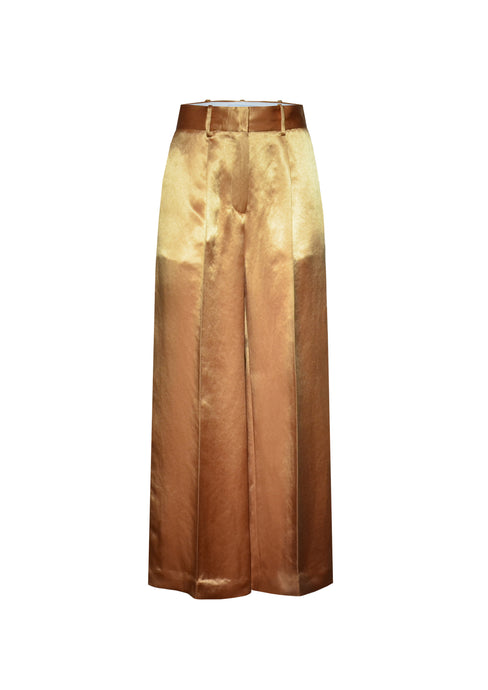 Caramel wide-leg trousers