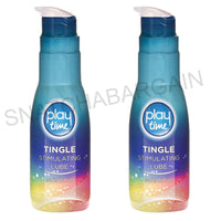 2 x PLAY TIME TINGLE STIMULATING WATER BASED LUBRICANT LUBE 75ml PUMP
