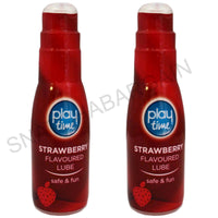 2 x PLAY TIME STRAWBERRY FLAVOURED WATER BASED LUBRICANT LUBE 75ml PUMP