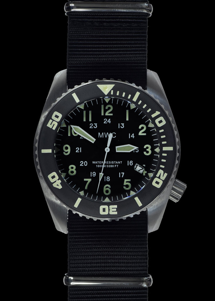 MWC Divers Watch - Depthmaster, 12/24, 100atm/3,280ft/1000m Water Resistant, Stainless Steel Case, Helium Valve (Quartz)