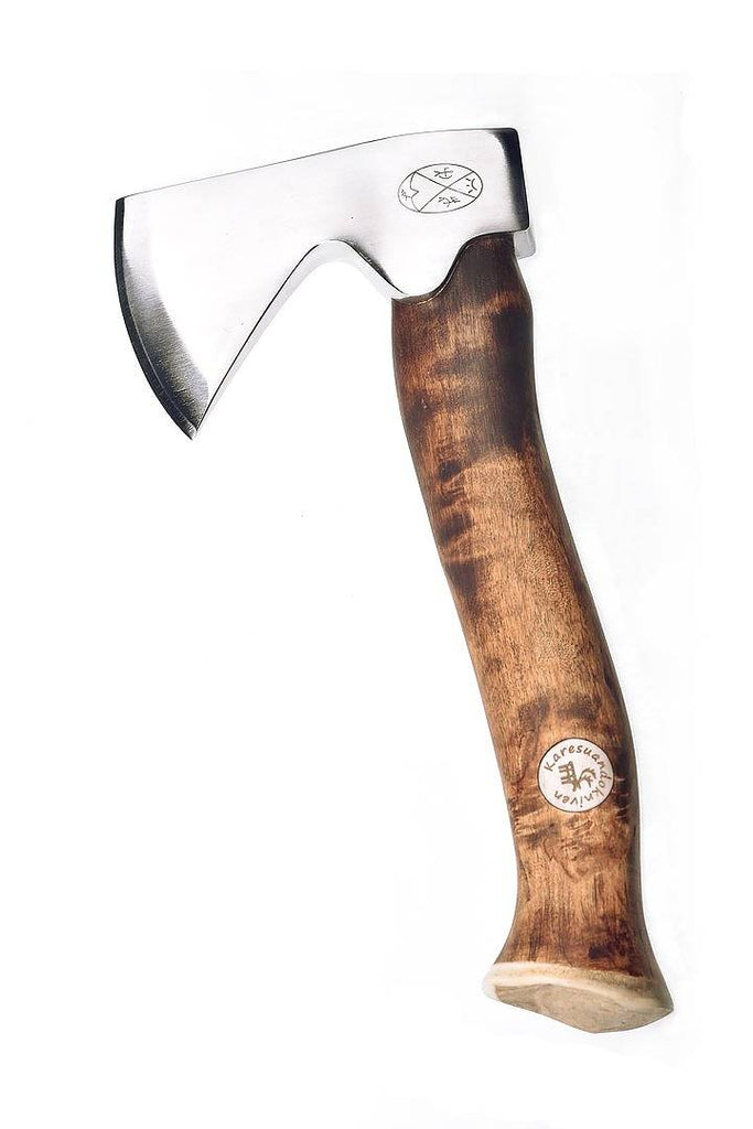Karesuando Kniven -  Vuogas Àksu Axe with Dark Curly Birch Handle